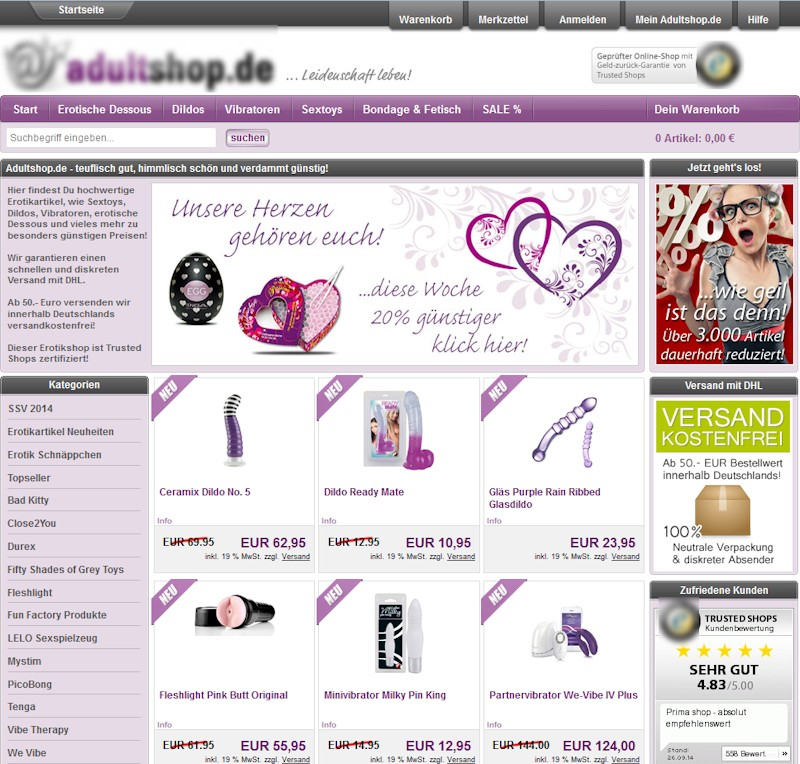 Erotikshop Adultshop Screenshot © Adultshop